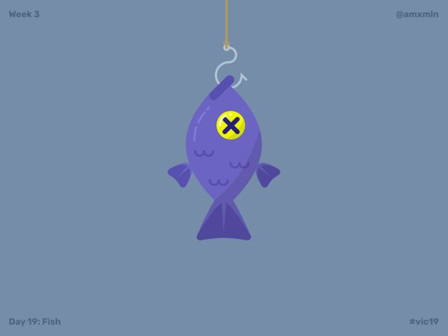 A purple fish hanging from a hook